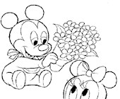 baby mickey minnie 5a coloring page