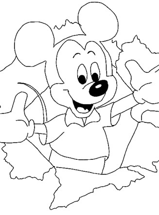 Disney Characters Coloring Page Mickey Mouse Crayon 3a All Kids