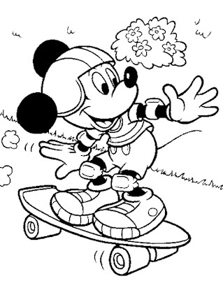 mickey mouse skateboard 7a coloring page