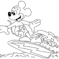 mickey mouse surfing 5a coloring page