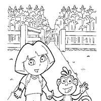 color dora and boots  coloring page