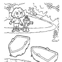 dora boat 1 coloring page