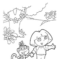 dora boots  coloring page