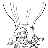 dora boots balloon 1 coloring page