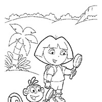 dora boots coloring  coloring page
