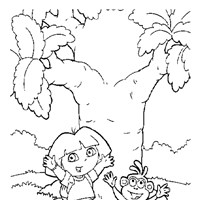 dora boots jumping  coloring page