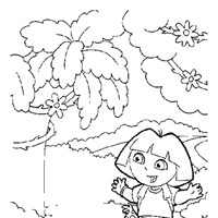 dora outside 1a coloring page