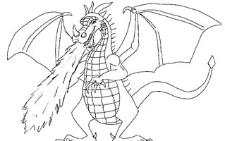 dragon breathing fire coloring page