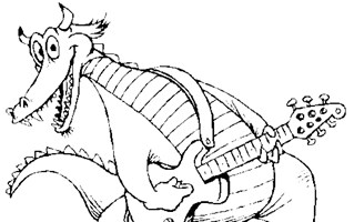 dragon playing guitar coloring page