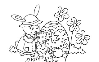 Easter Bunny Painting Eggs Coloring Page