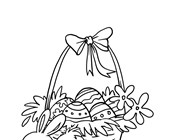 Easter Basket with Chicks Coloring Page
