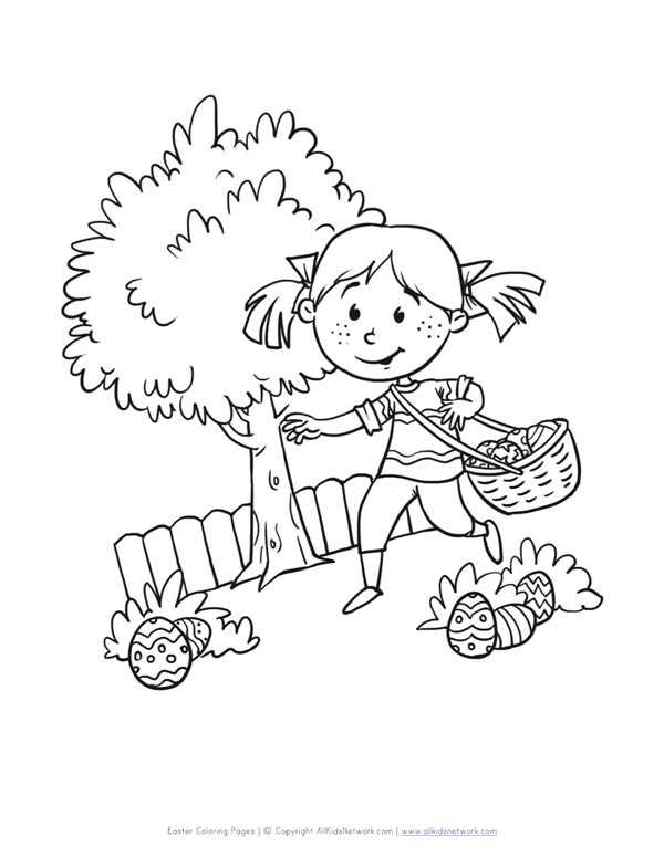 Easter Egg Hunt Coloring Page All Kids Network