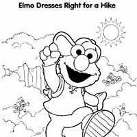 elmo hiking coloring page