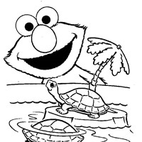 elmo turtle coloring page