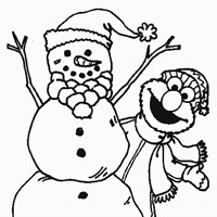 elmo with snowman coloring page