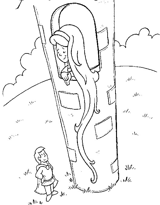 Fairy Tales Coloring Page Rapunzel All Kids Network