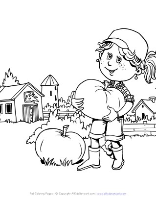 Fall Pumpkin and Farm Coloring Page