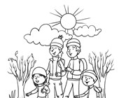 Fall Walk Coloring Page