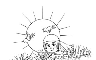 Girl in Fall Coloring Page