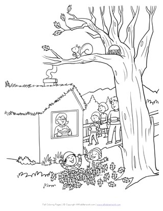 Playing in Leaves Coloring Page