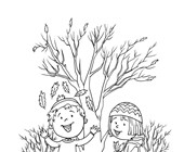 Picking Up Leaves Coloring Page