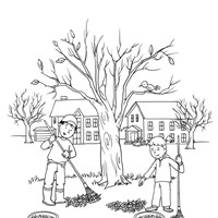 Raking Leaves Coloring Page