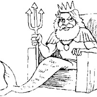 mermaid king coloring page