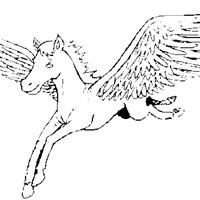 pegasus flying coloring page
