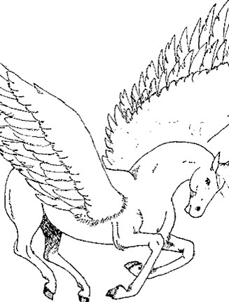 Fantasy Creatures Coloring Page Pegasus Wings All Kids Network