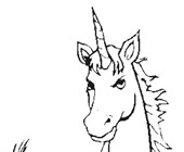 unicorn facing front coloring page