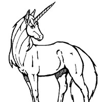 unicorn standing coloring page
