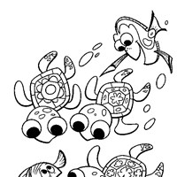 nemo turtles coloring page
