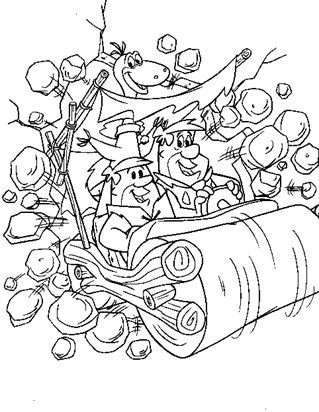 flintstones barney fred driving coloring page