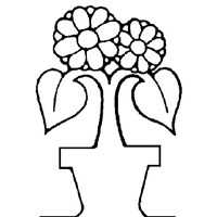 flower in vase coloring page