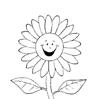 happy flower coloring page