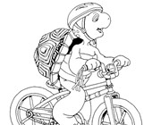 franklin on bicycle coloring page