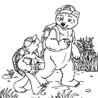 franklin the turtle with bear coloring page