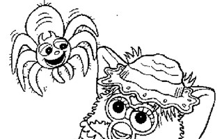 furby and spider coloring page