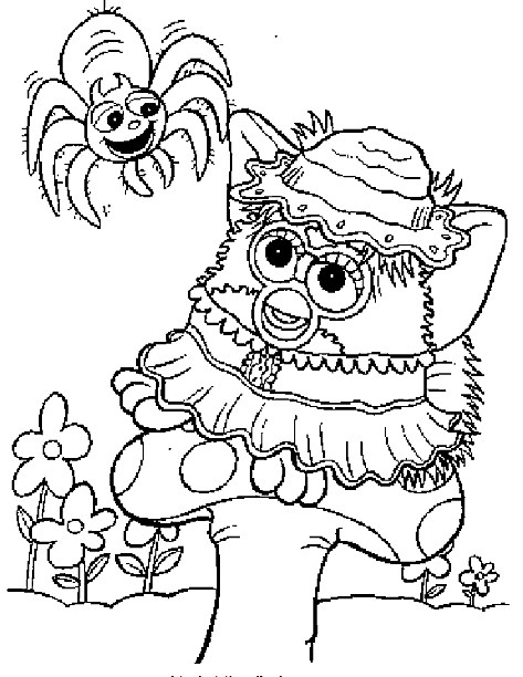 Gratis Kleurplaten Furby.Furby Coloring Page Furby And Spider All Kids Network