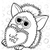 furby valentine coloring page