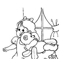 baby girl with bear coloring page