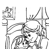 girl and mommy bedtime coloring page