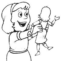 girl holding doll coloring page