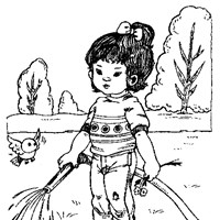 girl outside coloring page