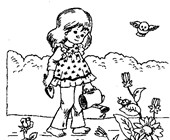 girl watering flowers coloring page