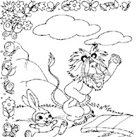 golden book lion rabbit coloring page