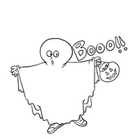 Halloween Ghost Costume Coloring Page