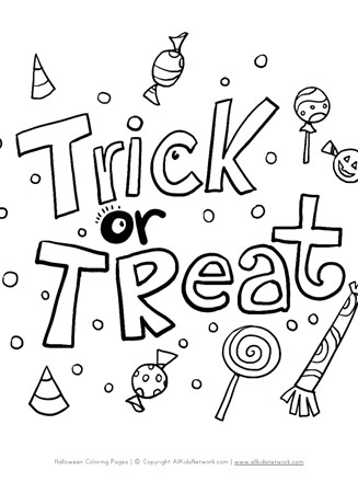 Trick Or Treat Coloring Page All Kids Network