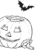 pumpkin and bat coloring page