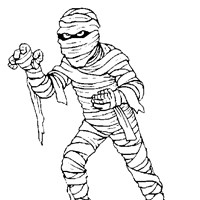 scary mummy coloring page